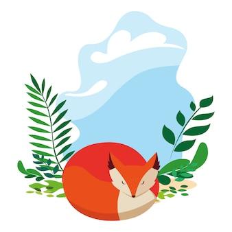 Fox mamífero feliz temporada outono plana