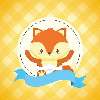 Fox para cartão de chuveiro de bebê