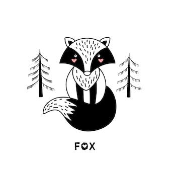 Fox para crianças em estilo escandinavo.