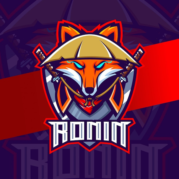 Fox ronin mascote esport logotipo