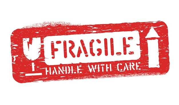 Frágil, desta forma sobe selo grunge isolado para carga, entrega e logística. manuseie com ilustração vetorial de cuidado.