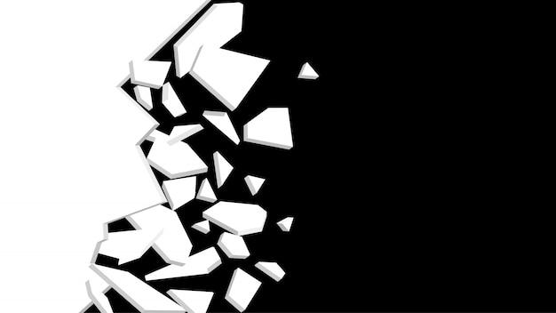 Fragmento de explosão de parede. explosão abstrata. ilustração a preto e branco