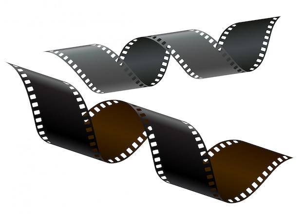 Fragmento de fita fotográfica transparente de 35 mm de emulação de preto e colorido