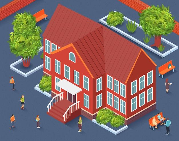 Fragmento isométrico do território escolar do construtor da cidade com o prédio da escola no centro das árvores e bancos ao redor da ilustração,