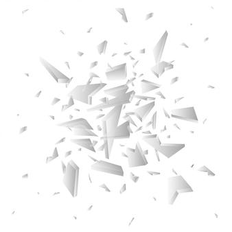 Fragmentos de vetor de cacos de vidro. pedaços de vidro quebrado, isolados no branco