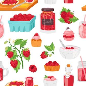 Framboesa, baga vermelha madura para suco fresco ou geléia suculenta e doce sobremesa bolo ou cupcake com ilustração de sorvete