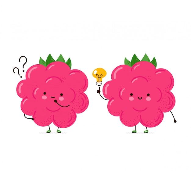 Framboesa engraçada feliz bonita com ponto de interrogação e lâmpada de ideia. cartoon personagem mão desenho ilustração estilo. isolado no fundo branco