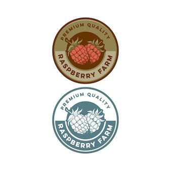 Framboesa retrô em emblema de qualidade premium vintage