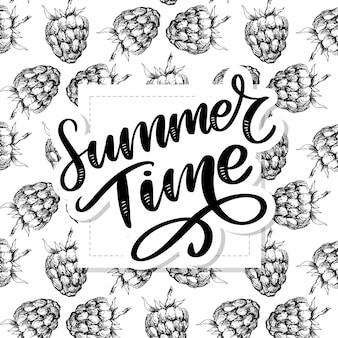 Framboesa sem costura padrão com horário de verão letras de texto