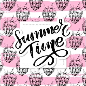 Framboesa sem costura padrão para o seu. slogan da ilustração horário de verão