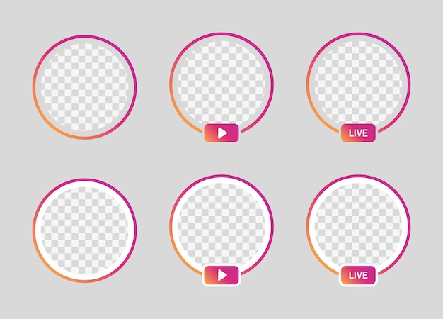 Frame ao vivo do instagram, círculo gradiente de perfil para mídia social - streaming ao vivo