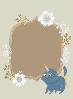 Frame bonito com um unicórnio e as flores do gato. pode ser usado para uma moldura de foto, convite de aniversário