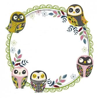 Frame circular com corujas