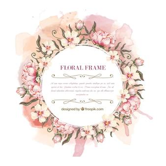 Frame da aguarela coroa de flores