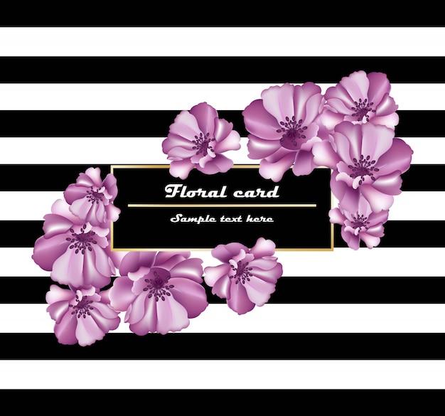 Frame de cartão de flores roxas em fundo listrado. decoração delicada