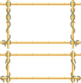 Frame de madeira das varas de bambu envolto na corda.