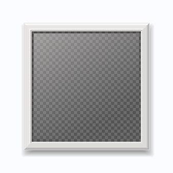 Frame de retrato branco realista, moderna moldura vazia isolada na parede branca.