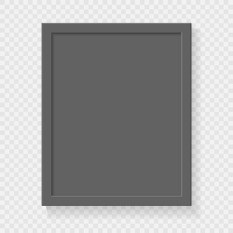 Frame de retrato vazio quadrado realístico no fundo transparente.