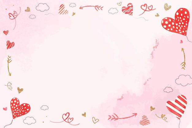 Frame do balão do coração dos namorados com fundo aquarela rosa
