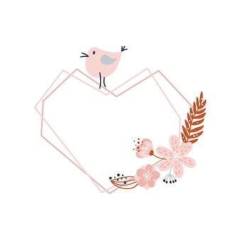 Frame do coração geométrico floral dos namorados do vetor com bouquet floral e ilustração do pássaro da flor.