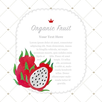 Frame do memorando da fruta orgânica da textura da aquarela colorida fruta do dragão pitaya