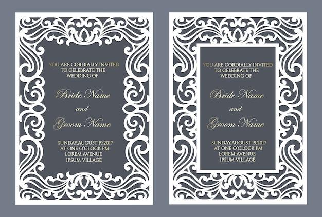 Frame ornamentado de corte a laser. modelo de cartão de convite de casamento.