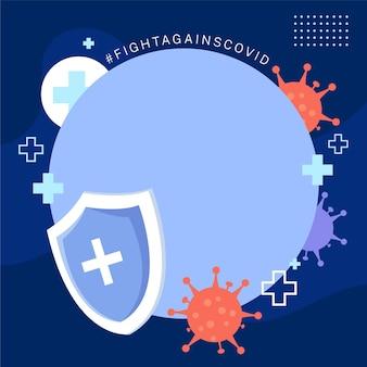 Frame plano do facebook do coronavirus