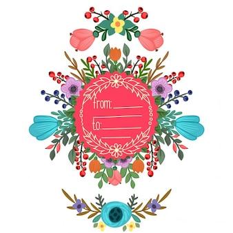 Frame redondo com ornamento de flores bouquet