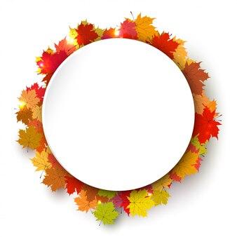 Frame redondo da cor do outono com folhas de plátano.