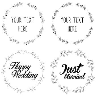 Frame redondo da grinalda para o projeto nupcial do convite do casamento