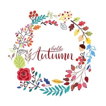 Frame redondo do outono com as folhas desenhadas mão. grinalda de vetor