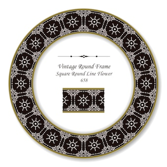 Frame redondo retro vintage com linha redonda quadrada flor, estilo antigo