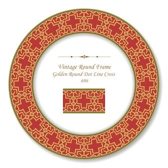 Frame redondo retro vintage dourado com linhas cruzadas, estilo antigo