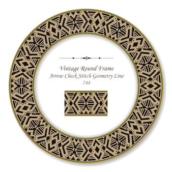 Frame redondo retro vintage seta verificar ponto geométrico linha, estilo antigo