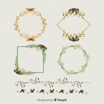 Frames de natal de visco e coleção de fronteiras