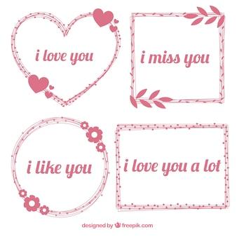 Frames desenhados mão com frases românticas