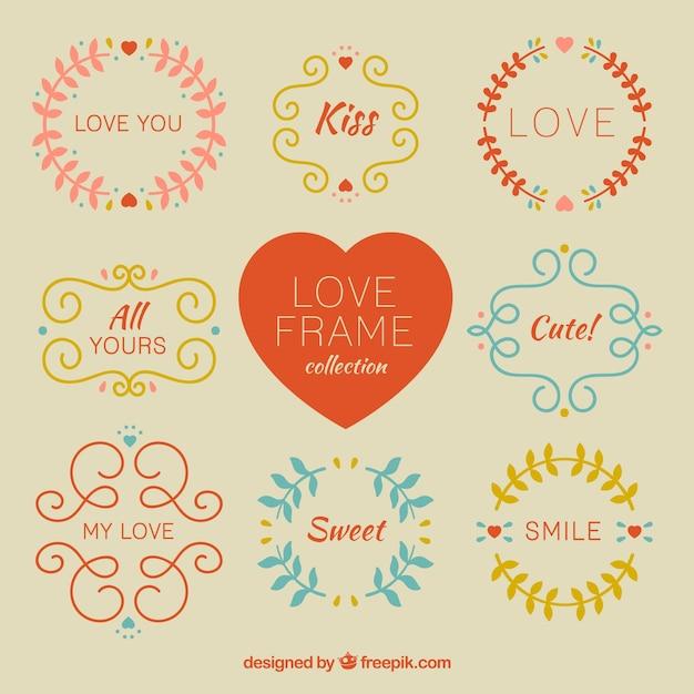 Frames desenhados mão do vintage do amor