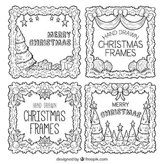 Frames desenhados mão natal