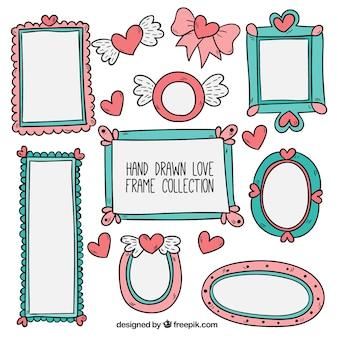 Frames desenhados mão românticas