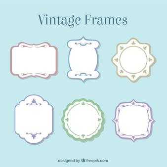 Frames do vintage com bordas coloridas