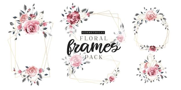 Frames dourados geométricos do vintage floral