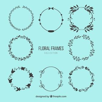 Frames florais círculo