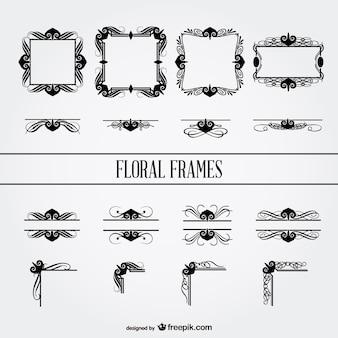 Frames florais coleção vetor livre