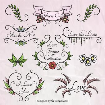 Frames florais desenhados mão para o casamento