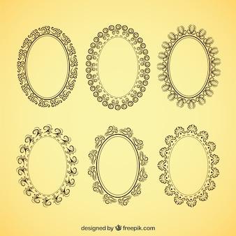 Frames ovais decorativos no estilo do vintage