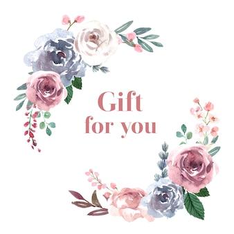 Framw de florescência com flores bouquet