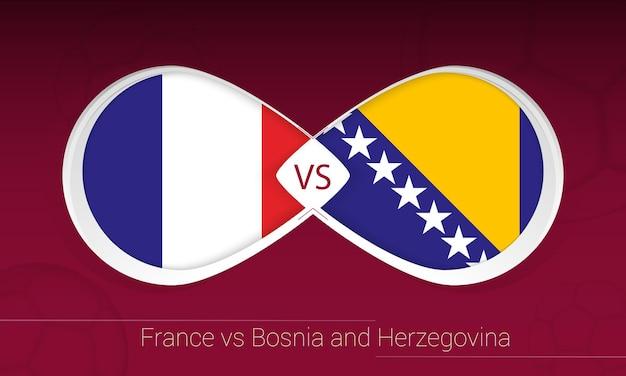 França vs bósnia e herzegovina em competição de futebol, grupo d. versus ícone no fundo do futebol.