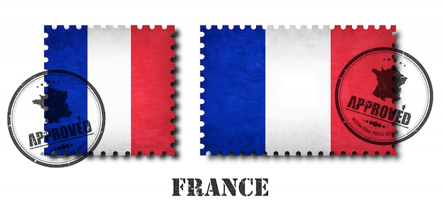 France ou selo postal francês do teste padrão da bandeira