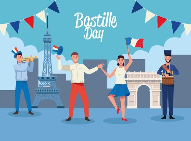 Franceses comemorando