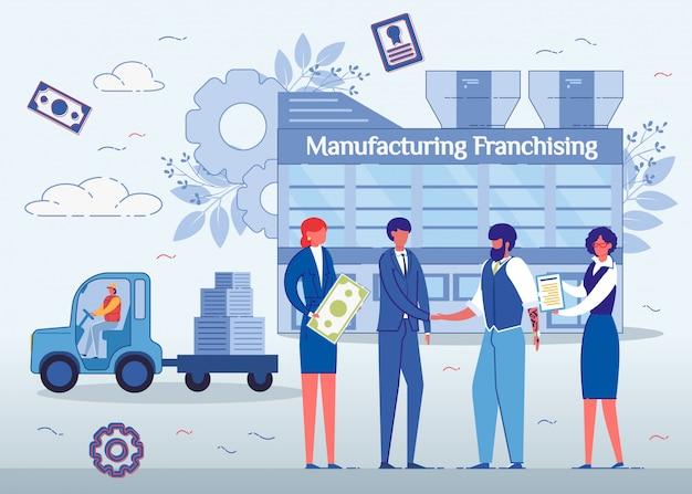 Franchising de fabricação, homens, apertando as mãos.